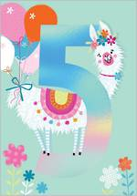 Birthday Age Card 5 Girl Llama Balloons