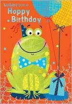Kids' Birthday Card Jellybean Frog Happy Birthday