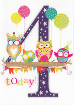 Birthday Age Card 4 Girl 100% Kids Owls