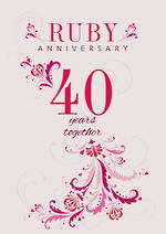 Anniversary Card 40th Ruby Years Together