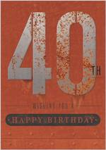 Birthday Age Card 40 Male Rust Iron