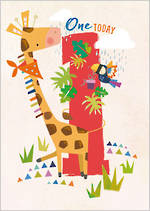 First Birthday Age Card 1 Boy 100% Kids Giraffe