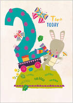 Birthday Age Card 2 Girl 100% Kids