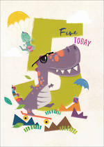 Birthday Age Card 5 Boy 100% Kids Dinosaur
