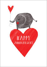 Anniversary Card Red Heart Elephant