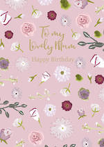 Mum Birthday Card Pink Flowers
