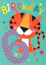 Birthday Age Card 6 Boy Cherry On Top Tiger