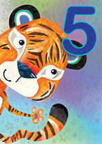 Birthday Age Card 5 Boy Jojo's Jungle Tiger