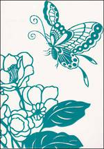 Blank Card Floral Juliette Turquoise Butterfly
