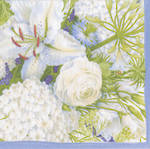 Lunch Napkins Caspari White Blooms