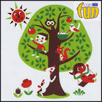 Blank Card General Fun Boy and Animals in Tree