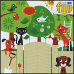 Blank Card General Fun Cats Birds and Trees