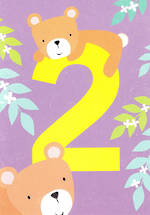 Birthday Age Card 2 Girl Tiger Tail Bear