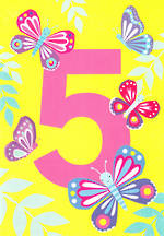 Birthday Age Card 5 Girl Tiger Tail Butterflies