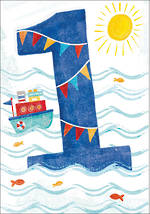 Birthday Age Card 1 Boy Boat