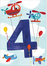 Birthday Age Card 4 Boy Helicopters Planes
