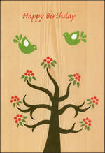Female Birthday Card: Greatoaks Tree Green Birds