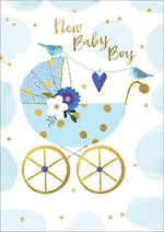 Baby Card Boy Bubbly Blue Pram