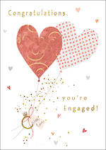 Engagement Card Charming Heart Balloons