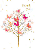 Thank You Card Charming Butterfly Tree