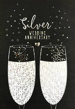 Anniversary Card 25th Silver Hallmark Glasses