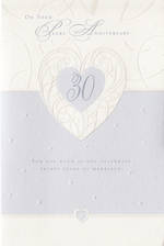Anniversary Card 30th Pearl Heart