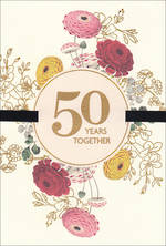 Anniversary Card 50th Golden Hallmark 50 Flowers