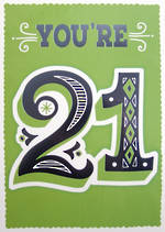 Jumbo Card Hallmark Colossal 21st Birthday Green