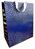 Large Gift Bag Navy Gold Dot