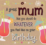 Mum Birthday Card Hallmark Square Humour Cocktails