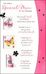 Mum Birthday Card Hallmark Shoes Butterfly