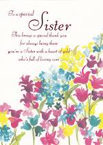 Sister Birthday Card Flowers
