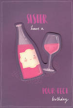 Sister Birthday Card Hallmark Large Wine