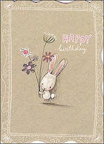 Birthday Card Female Hallmark Rabbit Kraft