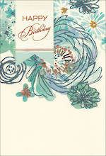Birthday Card Female Hallmark Blue Floral Large