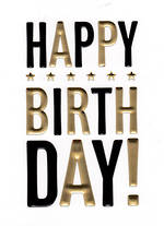 Hallmark Male Birthday Card: Black & Gold Text