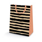 Large Gift Bag Kraft Black Stripes