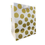 Large Gift Bag Golden Dots On White