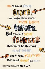 Hallmark Humorous Birthday Card: Year Younger