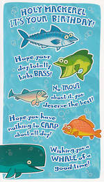 Hallmark Humorous Birthday Card: Four Fish & A Whale