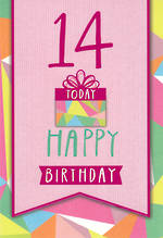 Birthday Age Card 14 Female Teen Gift