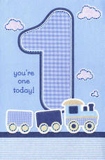 First Birthday Age Card 1 Boy Train