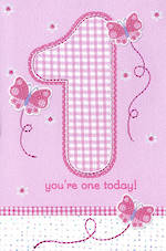 First Birthday Age Card 1 Girl Butterflies Pink