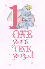 First Birthday Age Card 1 Girl Dumbo