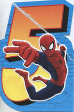 Birthday Age Card 5 Boy Spiderman