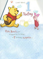 First Birthday Age Card 1 Boy Pooh Bear