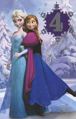 Birthday Age Card 4 Girl Frozen