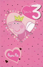 Birthday Age Card 3 Girl Peppa Pig