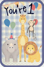 First Birthday Age Card 1 Boy Zoo Animals