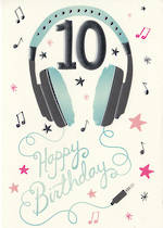 Birthday Age Card 10 Girl Music